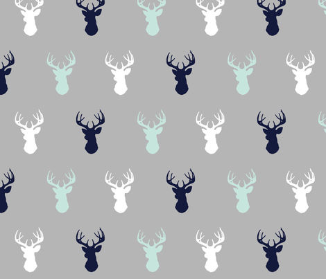 Deer - mint,navy,grey - Evenstar - Woodland nursery fabric by sugarpinedesign on Spoonflower - custom fabric