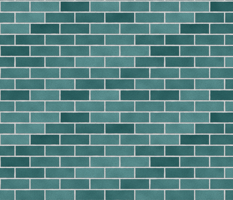 Teal Brick Wall fabric by thinlinetextiles on Spoonflower - custom fabric