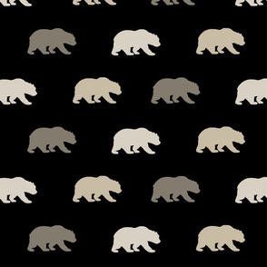 Bears - black,tan,taupe