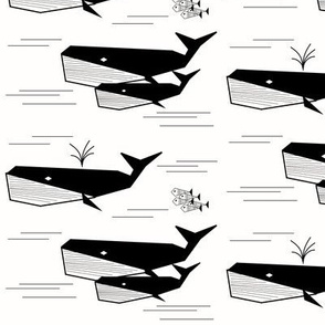 Whales - monochrome geometric black and white water ocean sea || by sunny afternoon