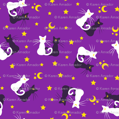 Moon Kitties - Purple