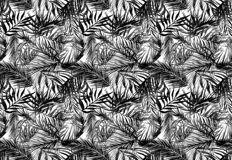 tropical palm leaves watercolor black fabric by rebecca_reck_art on Spoonflower - custom fabric