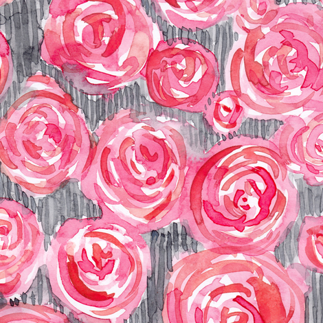 Watercolor Roses fabric by rebecca_reck_art on Spoonflower - custom fabric