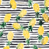 Pineapple on stripes Watercolor