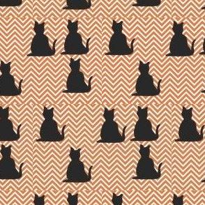 Black Cats on Orange Chevron