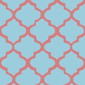 Blue & Coral Moroccan Tile Pattern