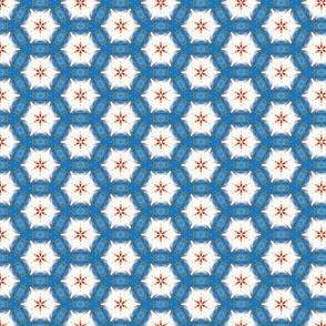 Acrylic Blue Orange Hexagon