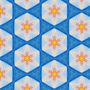 Oil Pastel Blue & Orange Sunflower Folk Mosaic