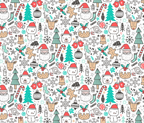 Xmas Christmas Winter Doodle with Snowman, Santa, Deer, Snowflakes, Trees, Mittens  fabric by caja_design on Spoonflower - custom fabric