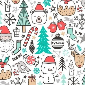 Xmas Christmas Winter Doodle with Snowman, Santa, Deer, Snowflakes, Trees, Mittens