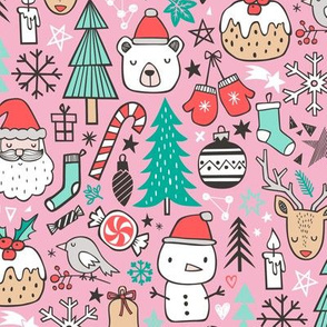 Xmas Christmas Winter Doodle with Snowman, Santa, Deer, Snowflakes, Trees, Mittens on Pink