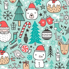 Xmas Christmas Winter Doodle with Snowman, Santa, Deer, Snowflakes, Trees, Mittens on Mint Green