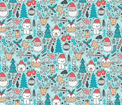 Xmas Christmas Winter Doodle with Snowman, Santa, Deer, Snowflakes, Trees, Mittens on Blue fabric by caja_design on Spoonflower - custom fabric