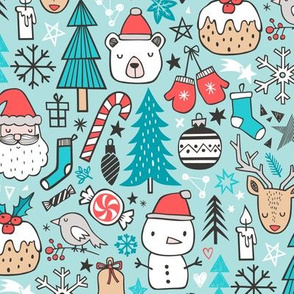 Xmas Christmas Winter Doodle with Snowman, Santa, Deer, Snowflakes, Trees, Mittens on Blue