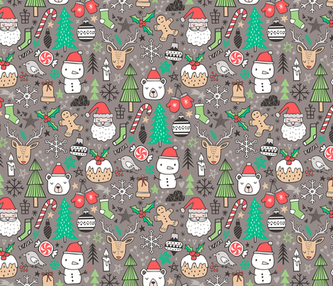 Xmas Christmas Winter Holiday Doodle with Snowman, Santa, Deer, Snowflakes, Trees, Mittens on Brown fabric by caja_design on Spoonflower - custom fabric