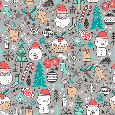 Xmas Christmas Winter Holiday Doodle with Snowman, Santa, Deer, Snowflakes, Trees, Mittens on Grey