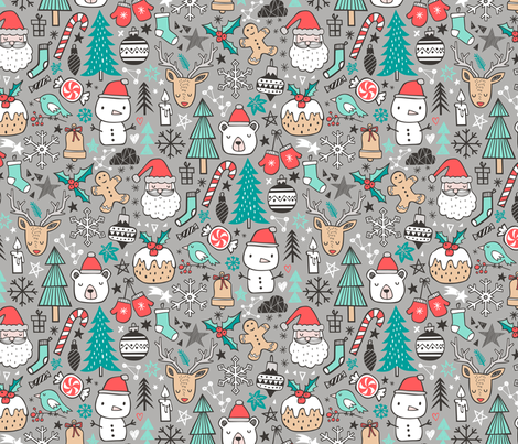 Xmas Christmas Winter Holiday Doodle with Snowman, Santa, Deer, Snowflakes, Trees, Mittens on Grey fabric by caja_design on Spoonflower - custom fabric
