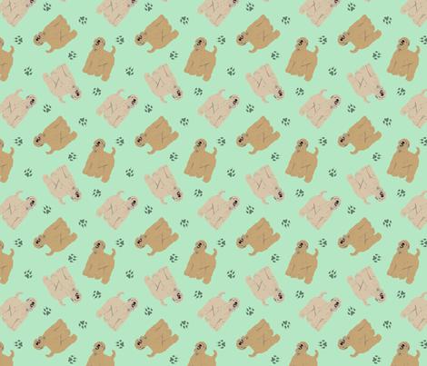 Tiny Wheaten Terriers - green fabric by rusticcorgi on Spoonflower - custom fabric