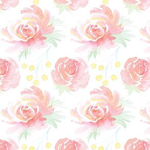 Peachy Pink Watercolor Peonies