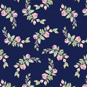 Preppy Pink Watercolor Arch on Navy