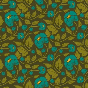 Small Blooms - Turquoise/Gold