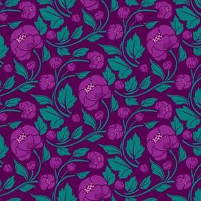 Small Blooms - Purple/Aqua colourway
