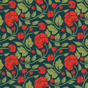 Small Blooms - Scarlet/Prussian Blue