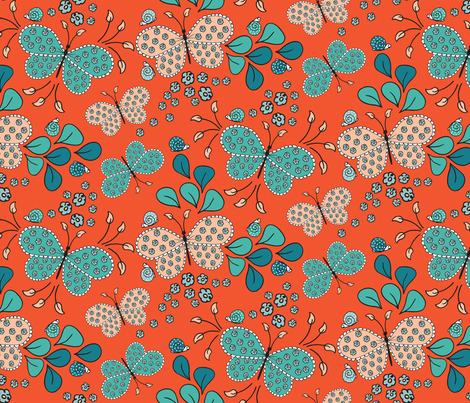 Cute Butterflies and Snails on Orange fabric by zaramartina on Spoonflower - custom fabric