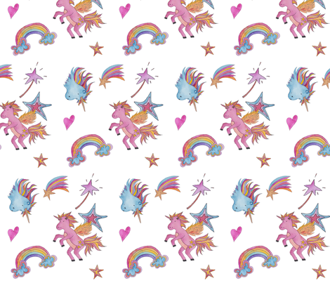 Unicorns & Rainbows fabric by paperwand on Spoonflower - custom fabric