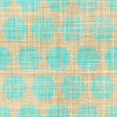 Bay Breeze hexagon in faux linen turquoise