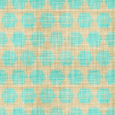 Bay Breeze hexagon in faux linen turquoise fabric by joanmclemore on Spoonflower - custom fabric