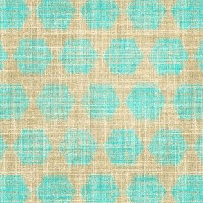Bay Breeze hexagon in faux linen turquoise