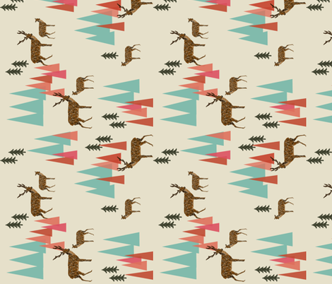 Deer in the Mountains // forest woodland mountain geometric deer woodland railroad fabric by andrea_lauren on Spoonflower - custom fabric
