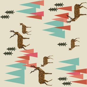 Deer in the Mountains // forest woodland mountain geometric deer woodland railroad