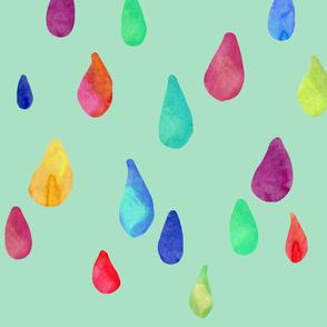 Rainbow Rain Drops - Mint Back