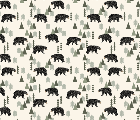 forest bear // cream green neutral baby nursery boys forest mountain woodland geometric bear fabric by andrea_lauren on Spoonflower - custom fabric