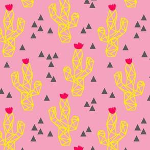 Yellow Saguaro Cactus on Pink