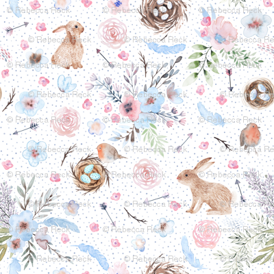 Dreamy watercolor easter bunnies, nests, eggs, robins