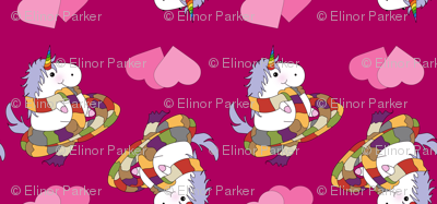 Unicorn with Long Scarf on Hot Pink