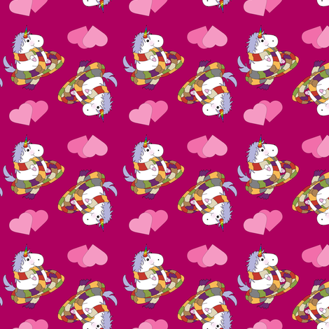 Unicorn with Long Scarf on Hot Pink fabric by costumewrangler on Spoonflower - custom fabric