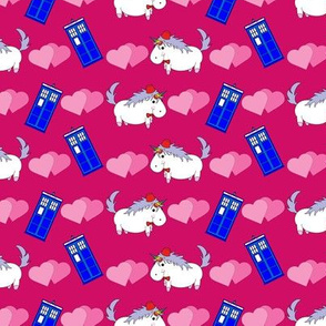 Unicorn with Fez and Police Box on Hot Pink