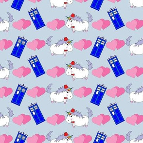 Unicorn with Fez and Police Box on Grey