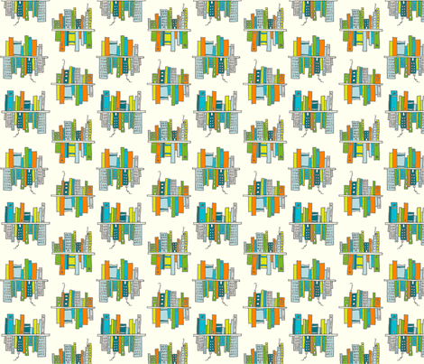 Cityscapes and bookshelves fabric by molliemargaret on Spoonflower - custom fabric
