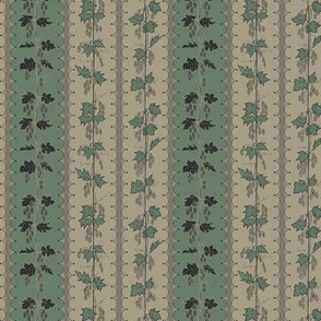 Charcoal and Green Hop Stripes on Old Linen