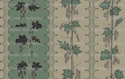 Rrhops_in_stripes_new_repeat_on_old_linen_with_charcoal_leaf_fill_and_dark_green_stripes_bg.._structured_curves_preview