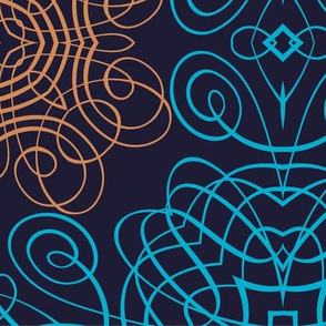 Teal and Orange Calligraphic Blooms