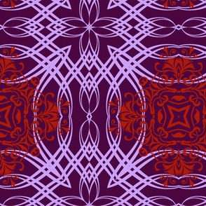Tightly Woven Pink and Red Calligraphic  Elements