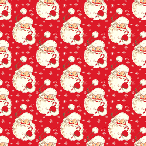 Hi Santa Red ~ New  small size ! Christmas fabric by parisbebe on Spoonflower - custom fabric