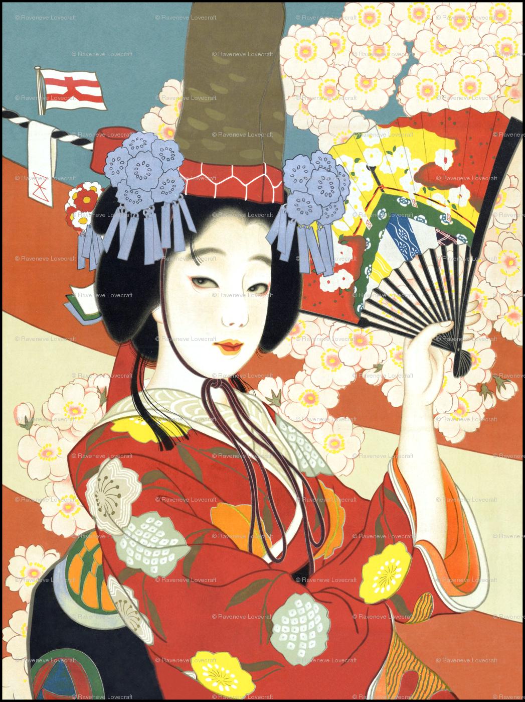 Vintage Japanese Japan Oriental Chinoiserie Culture Kimono Asia Asian Traditional Geisha Maiko Cherry Blossoms Sakura Flowers Fans Fabric