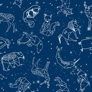 constellations // geometric constellations animals stars night sky navy blue kids room nursery decor cute fabric